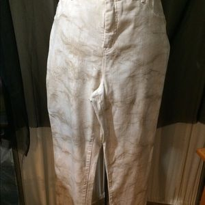 White/brown washed stretchy denim